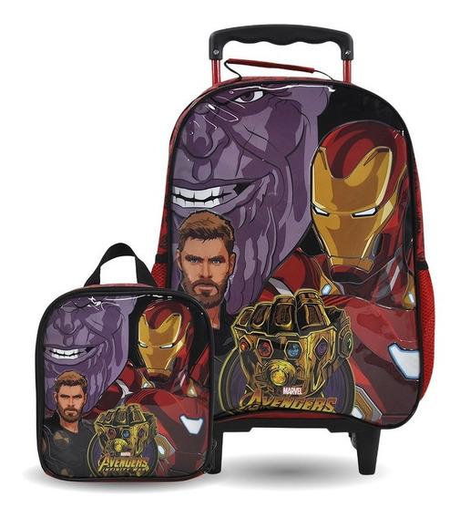 Kit Escolar Mochilete + Lancheira Vingadores Avengers Origin