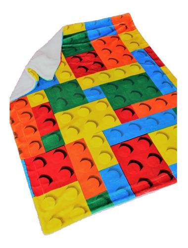 Imagen 1 de 6 de Cobertor Con Borrega Infantil 1.00x1.30 Modelo Bloques