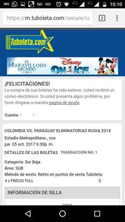 Boleta Colombia Vs Paraguay