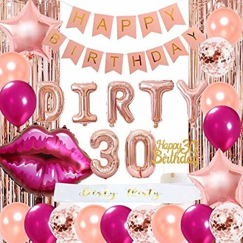 Decoración Para 30 Cumpleaños Para Mujer, Oro Rosa, Feliz 30