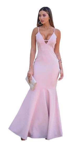 Vestido Longo Madrinha Sereia Rose Decote Sem Manga Alcinha