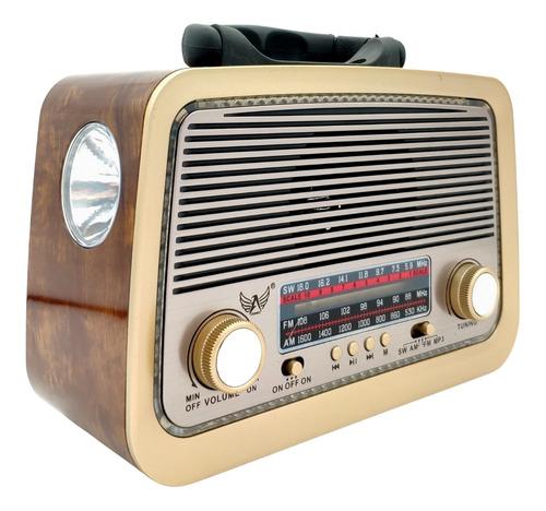 Imagem 1 de 6 de Rádio Am Fm Sw Estilo Retrô Vintage Bluetooth Usb Pen Drive