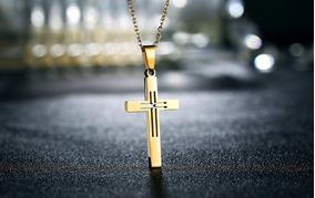 Colar Crucifixo Vazado De Aço Inoxidável