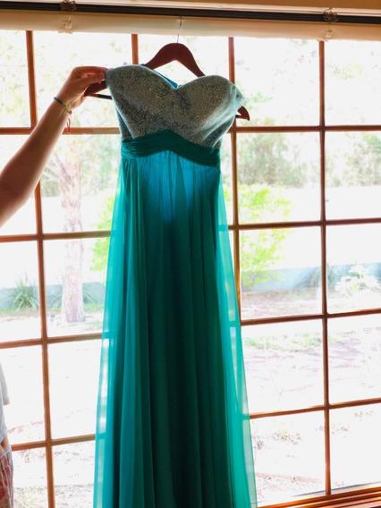 Vestido De Noche Verde Strapless