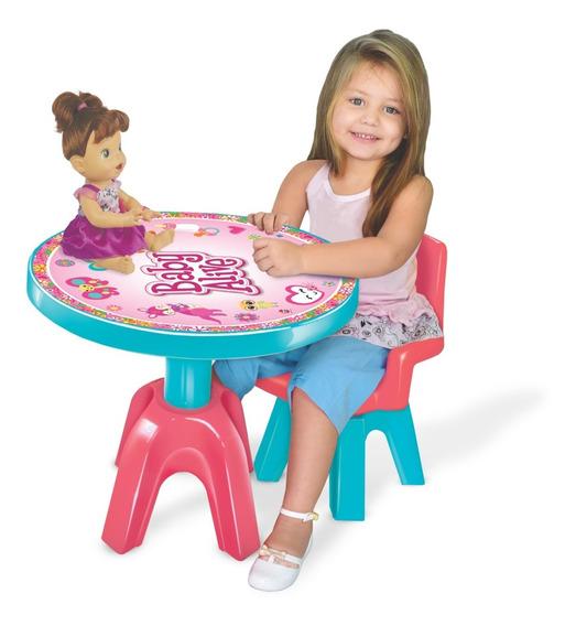 Mesa E Cadeira Infantil Baby Alive Boneca Original Lider
