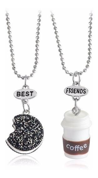 2 Colar Melhores Amigos Best Friends Biscoito Café Lindo Pop