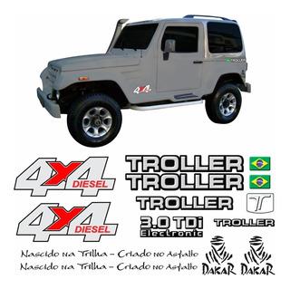 Kit Adesivos Emblema Troller T4 4x4 Diesel 3.0 Tdi 2008 Completo Carro Preto Tlr063 Dx