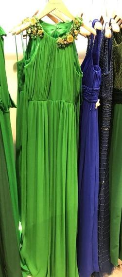 Vestido Largo De Fiesta. Verde Con Piedras. T. 1 Un Solo Uso