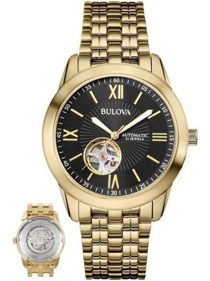 Relógio Bulova Masculino Ref: Wb32004u Automático Dourado