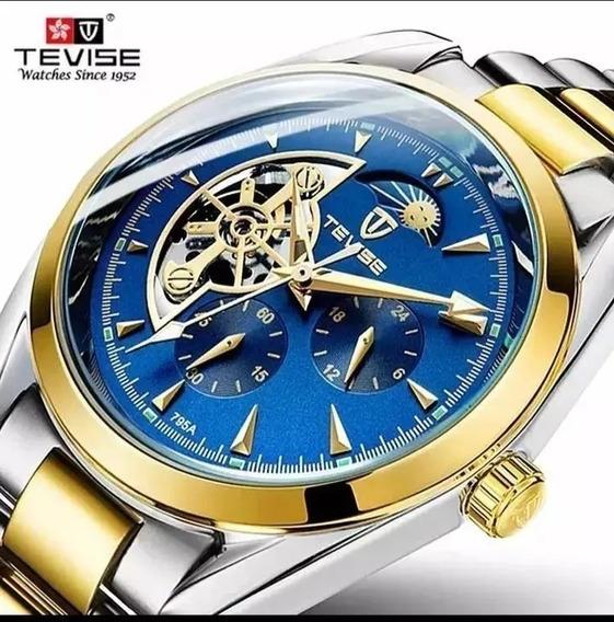 Relógio Masculino Tevise Original Fases Lua Barato S.111