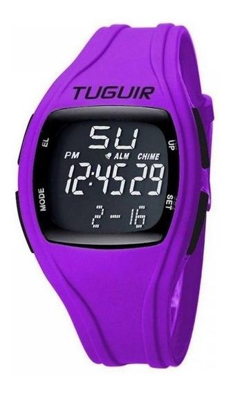 Relógio Feminino Esportivo Tuguir Digital Roxo Fitness