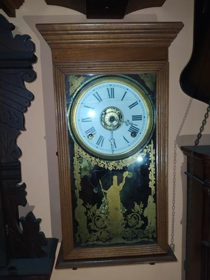Antiguo Reloj De Pared 2 Cuerdas Y Pendulo Vidrio Con Dibujo