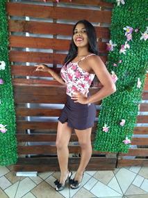 Conjunto Festa Moda Feminina Cropped E Saia-shorts Promoção