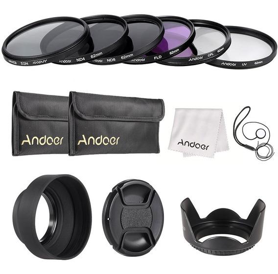 Andoer 62 Milmetros Lens Kit Filtro Uv + Cpl + Fld + Nd