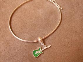 Bracelete Com Pingente Guitarra Verde - Prata 925