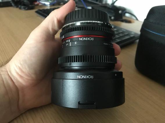 Lente Rokinon 8mm Tcine 3.8 Nikon + Adaptador Canon