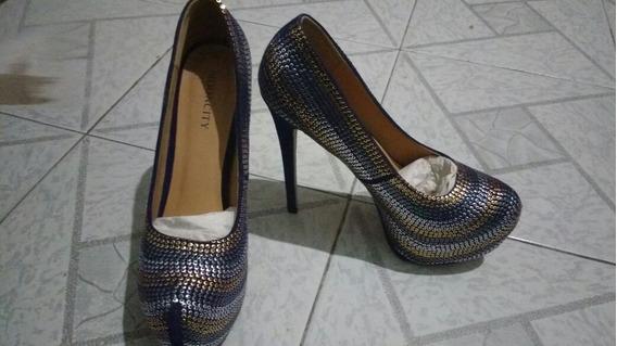 Sapato Pep Toe Azul - Novo