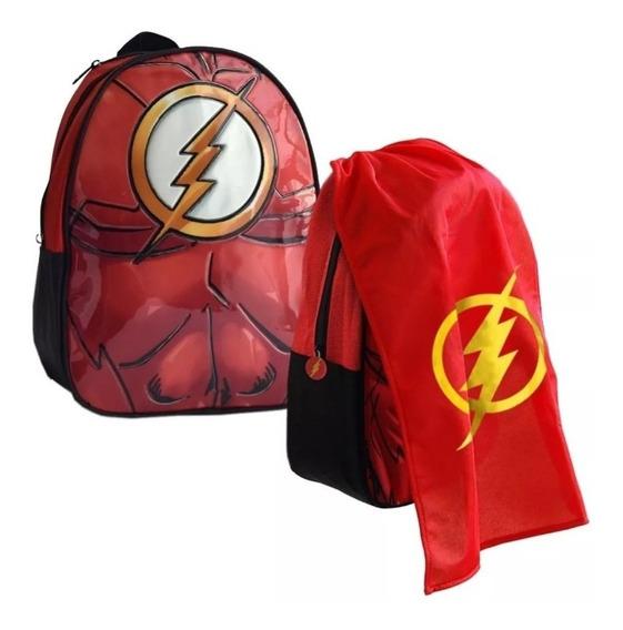 Mochila Espalda Jardin 13p Batman Flash Con Capa Originales