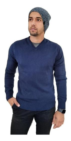Blusa Suéter Masculino Decote V Tricot Algodão Alta Durabili