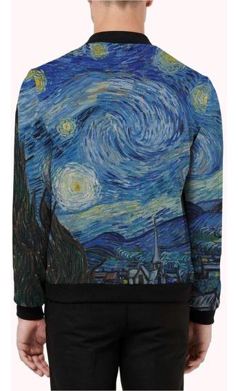 Jaqueta Bomber Cetim Forrada Van Gogh A Noite Estrelada Mt
