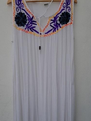Vestido Largo Bordado Hasta 6 Xl