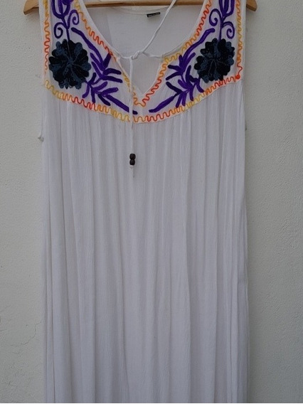 Vestido Largo Bordado Hasta 6 Xl