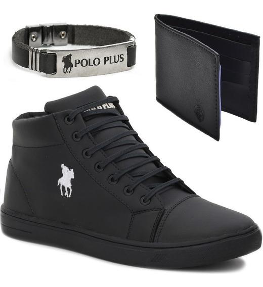 Tênis Masculino Polo Cano Alto Estilo Bota+carteira+pulseira