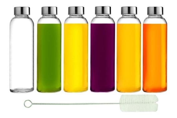 6 Botellas De Vidrio Reutilizable Para Agua, Jugos, Salsas