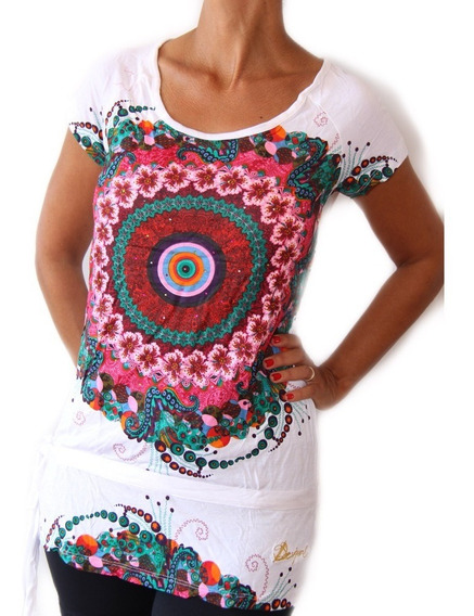 Vestido Corto O Remera Larga Desigual Mandala Original