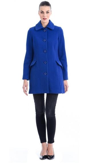 Abrigo Yatziri Saco Recto Con Bolsas Dama Mujer Azul Shyla