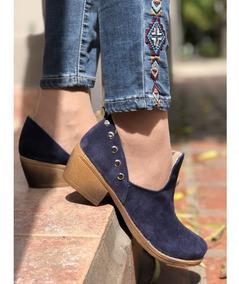 Zapatos Botas Charrito Botitas Texana Mujer Azul Gamuza