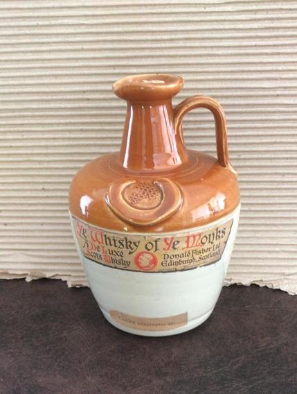 Antigua Botella Monks Ceramica / Gres Con Etiqueta. Hermosa