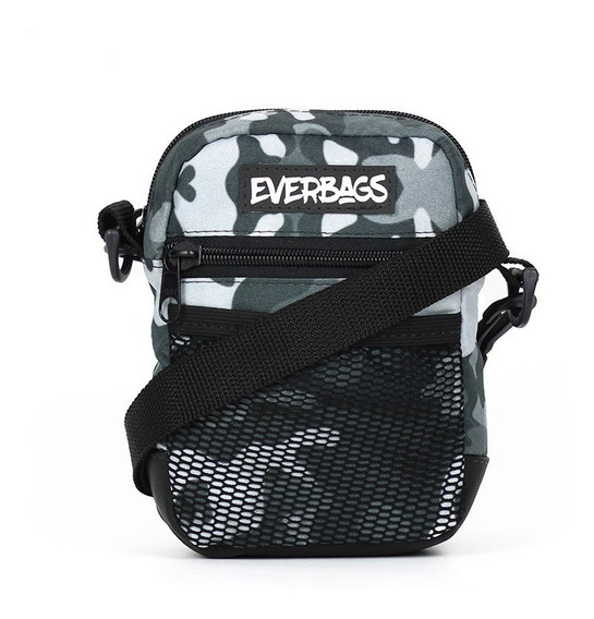 Shoulder Bag Camu Cinza Rede Everbags Tira Colo Necessaire