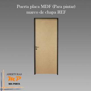 Puerta Placa Mdf Mia Porta, Marco De Chapa 22, 060x200x10