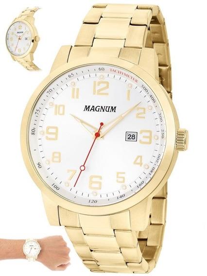 Relógio Masculino Magnum Dourado Luxo Original Ma32925h