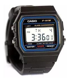 Relógios Casio F-91w 100% Original Série Azul Prova De Água!