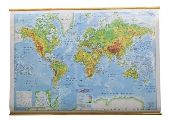 Mapa Mural Laminado Plastificado Planisferio Fisico 90x130cm