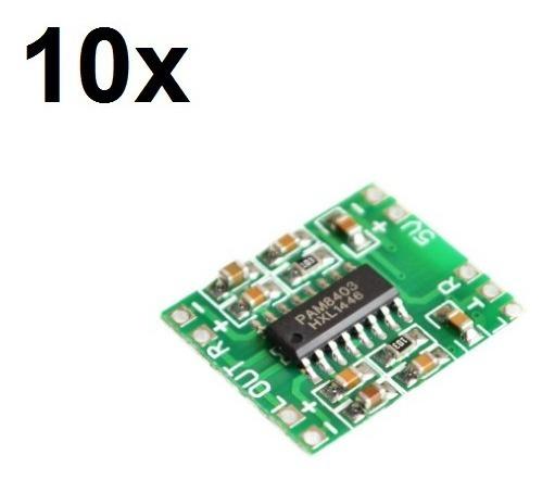 10x Mini Amplificador Digital 2x3w De 2,5v A 5v Pam8403