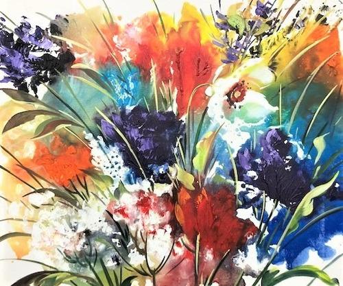 Imagem 1 de 6 de Obra/quadro Acrílico S/tela Painel Flor Espatuladas 50x60cm