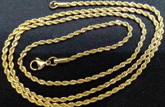 Corrente/cordão Fino Comprido Trançado Aço Inox Dourado 3 Mm