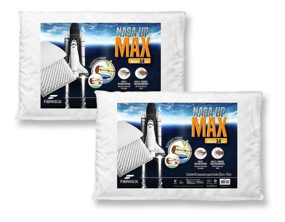 Kit 2 Travesseiro Nasa Alto Up Max Altura 14cm