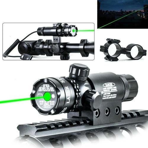 Apuntador Láser Verde Tactico Militar Montura Para Riel 20mm