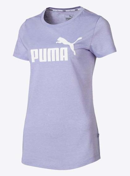 Remera Puma Elevated Essential Logo Heather De Mujer