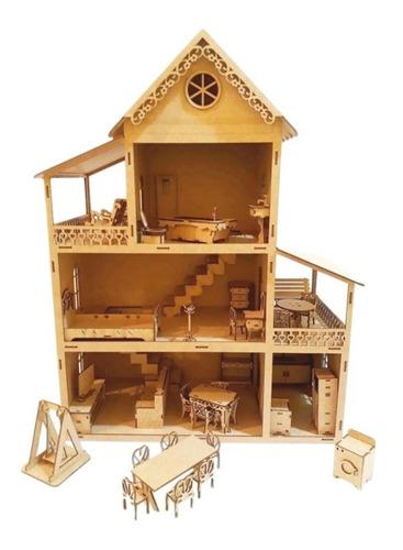 Casa De Bonecas Polly+36 Móveis 60cm Desmontados Janela Abre