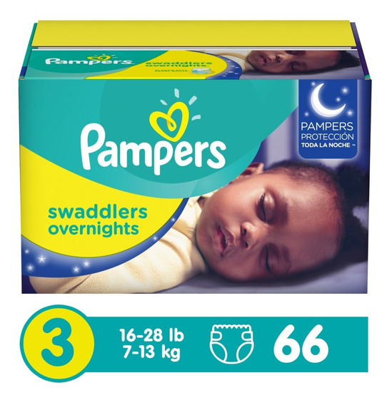 Pampers Swaddlers Overnight, Talla 3, 66 Piezas