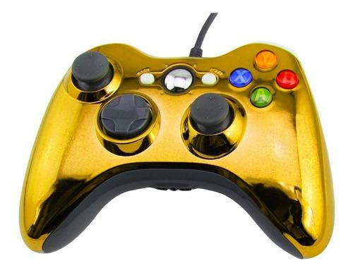 Joystick Xbox 360 Control Mando Cableado Pc Dorado Cromo