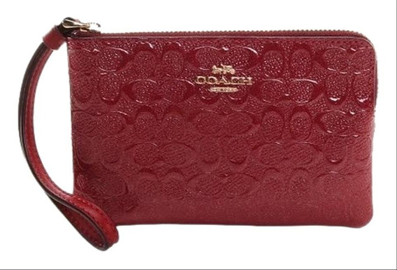 Monedero Coach Charol Grabado Colores Rosa Y Cereza