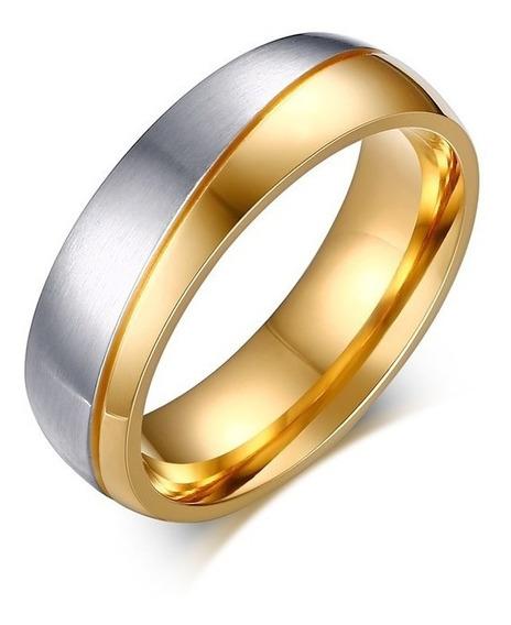 ( Unidade ) Aliança/ Anel Masculina Banhado A Ouro 6 Mm