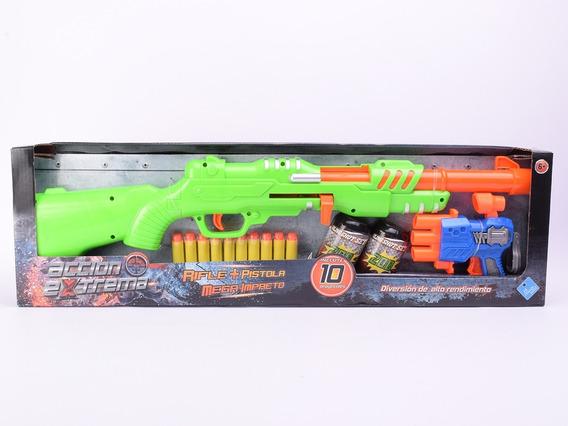 Rifle Lanza Misiles+pistola+latas Mega Impacto Simil Nerf