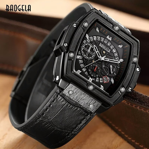 Relógio Masculino Baogela Quadrado Estilo Cronos Promoção